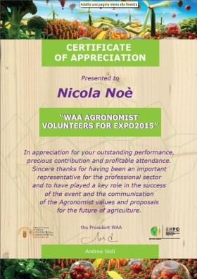 WAA – Certificate of Appreciation