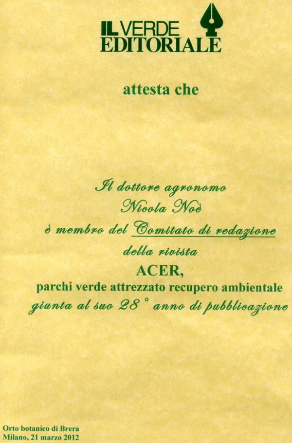 Comitato di Redazione di ACER dal 2001