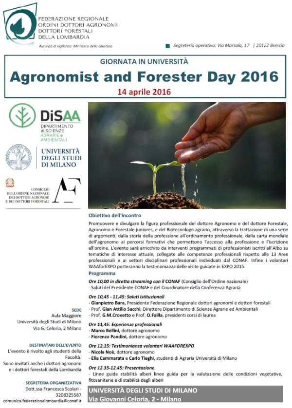 GIORNATA IN UNIVERSITÀ – Agronomist and Forester Day 2016 – 14 aprile 2016