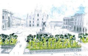 Palme e banani in Piazza Duomo