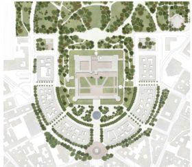 Parterre in calcestre e alberi per il progetto di Piazza Castello
