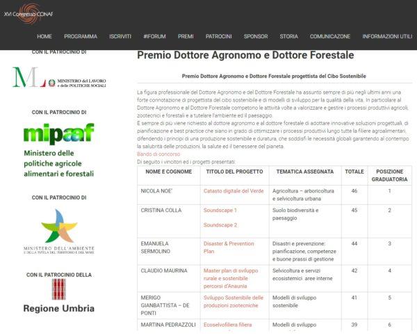 Al Catasto Digitale del Verde il Premio Dottore Agronomo e Dottore Forestale