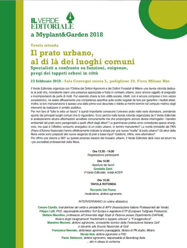 Il prato urbano, tavola rotonda al Myplant&Garden 2018