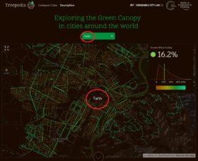 Copertura delle chiome degli alberi stradali nelle principali città del mondo.