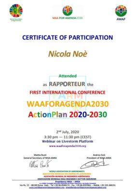 Nicola Noè RAPPORTEUR at the FIRST INTERNATIONAL CONFERENCE WAAFORAGENDA2030 ActionPlan 2020-2030