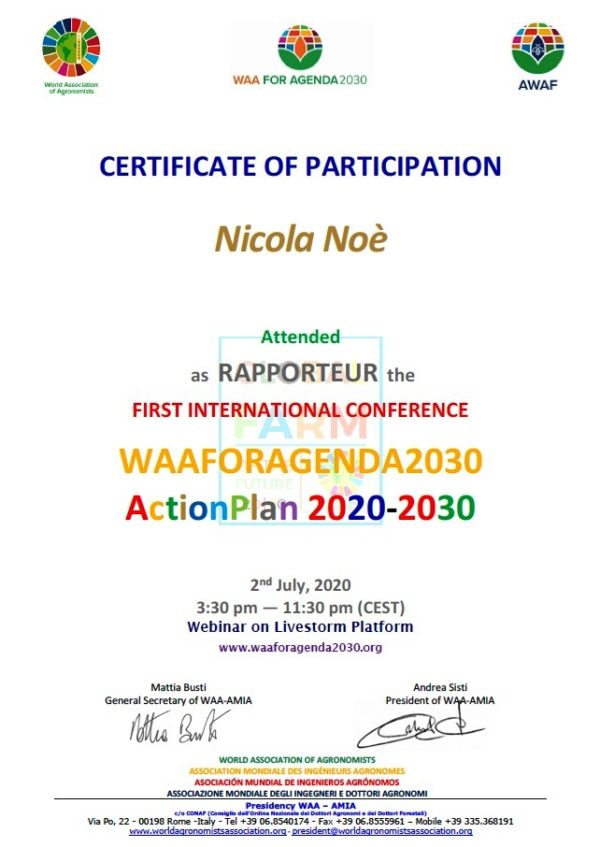 Nicola Noè RAPPORTEUR at the FIRST INTERNATIONAL CONFERENCE WAAFORAGENDA2030 ActionPlan 2020-2030